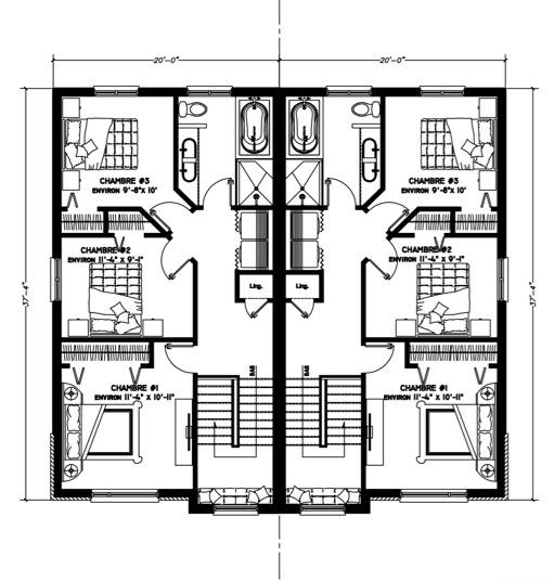 Plan de maison Jumele des seigneurs 3