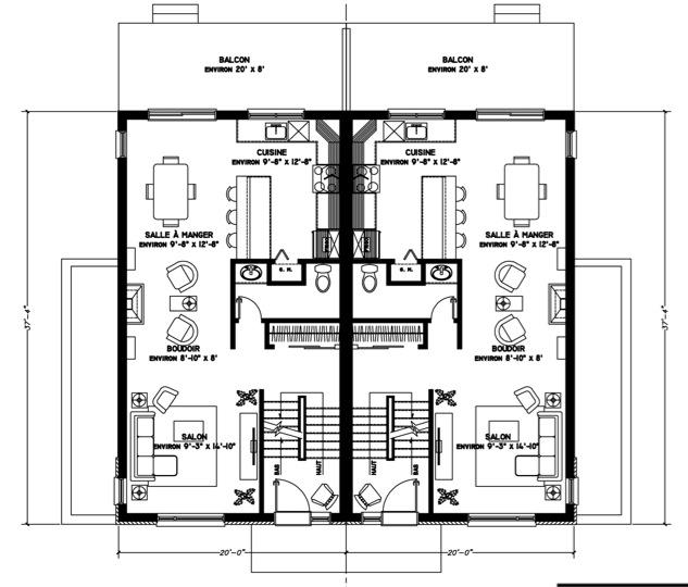 Plan de maison Jumele des seigneurs 2